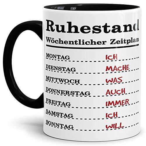 Tassendruck Geschenk-Tasse zum Ruhestand mit Wochenplan/Rente/Rentner/Pension/Abschieds-Geschenk/Innen & Henkel Schwarz