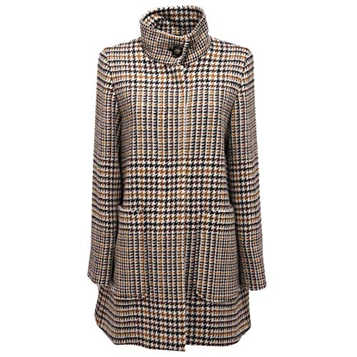 MARELLA 1526AC Cappotto Donna Wool Black/Brown Checked Coat Jacket Women [44]
