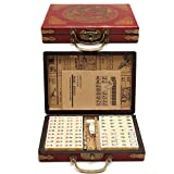 TUANMEIFADONGJI 144 PCS Mahjong de Voyage Portable Mah-Jong Archaistic Leather Box...