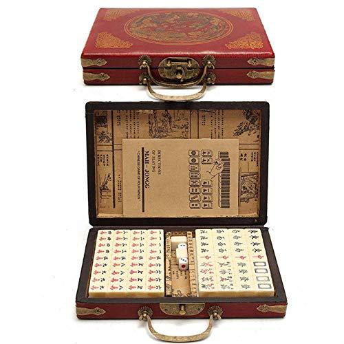 likeitwell 144 Piezas de Viaje Mahjong, Mini Chino Tradicional portátil con Caja de Cuero arcaico y Manual en inglés Creativo portátil de Viajes Mahjong