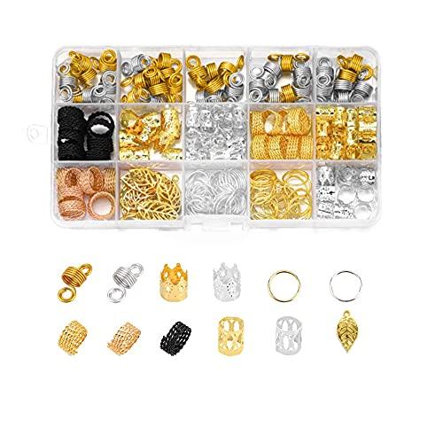 Tucireat Perline Capelli 200 Pezzi Anelli per Treccine Africane Gioielli per Capelli Bobina dei Capelli Anelli a Treccia per Capelli Anelli di Capelli Treccia Metallo con Scatola