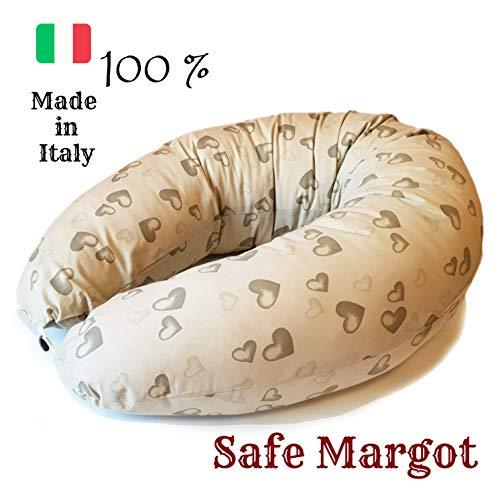 Safe Margot Cuscino Gravidanza per Dormire Cuscino Allattamento Antisoffoco Antireflusso Neonato con Imbottitura Fiocchi di Fibra E Federa 100% Cotone Ipoallergenico Made in Italy