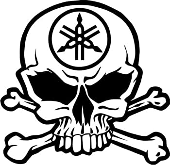 Yamaha Motorcycle Racing Skull Crossbones Car Truck Windows Decor Decal Sticker - Die Cut Vinyl Decal for Windows Cars Trucks Tool Boxes laptops MacBook - virtually Any Hard Smooth Surface