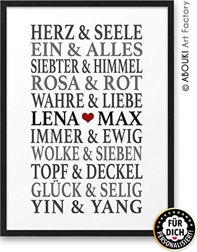 Traumpaar LIEBE ABOUKI Kunstdruck - ungerahmt - personalisierte Geschenk-Idee Hochzeit Verlobung Jahrestag für Sie Ihn Frauen Männer Weihnachtsgeschenk