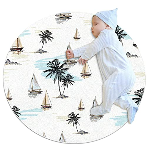 Coconut Palm Trees Sailboat Summer Beach Surfing Pattern Round Area Rug 2.62ft Traditional Throw Runner Rug Non-Slip Backing Soft Floor Carpet for Sofa Living Room Bedroom Modern Accent Home Decor