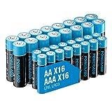 Poweradd 32 Pack 1.5V AA AAA Pilas Alcalinas con 16 x LR6 Batería Alcalinas y 16 x LR03...