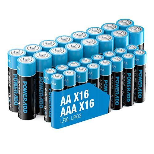 Poweradd 32 Pack 1.5V AA AAA Pilas Alcalinas con 16 x LR6 Batería Alcalinas y 16 x LR03 Batería Alcalinas de 10 Años Larga Duración para Linternas, Mandos a Distancia, Juguetes y Más