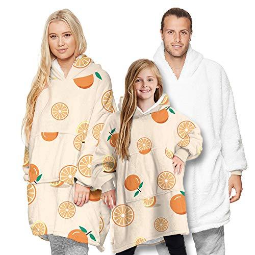 Grande Manta Tipo Sudadera con Capucha,Doble Capa Hoodie Blanket Súper Suave Mullido de Algodón y Forro Polar Pullover Calentita(Color:D,Size:Adulto)