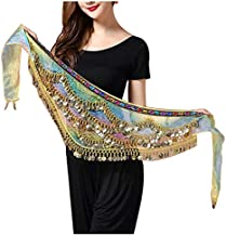 HorBous Belly Dance Hip Scarf Belly Dance Waist Chain Belt with 300 Coins