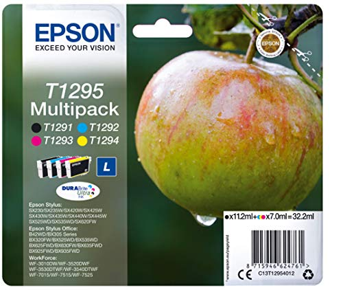 Epson T129 Serie Mela, Cartuccia Originale Getto d'Inchiostro DURABrite Ultra, Formato Standard, Multipack 4 Colori, con Amazon Dash Replenishment Ready