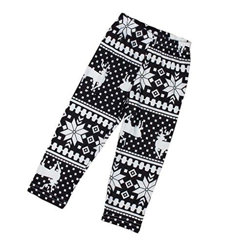 For 1-9 Years Old,ClodeCute Kids Leggings Girls Christmas Snowflake Reindeer Tight Leggings Skinny Pencil Pant Trousers Childrens Trousers (M(5-7Years old), Black)