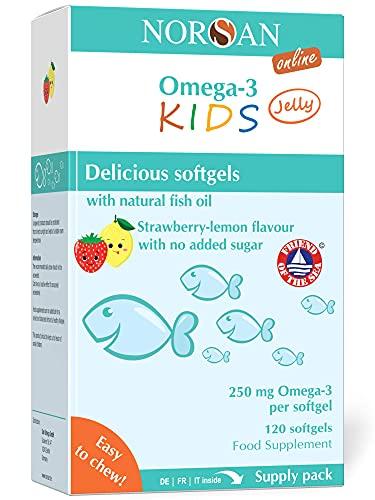 NORSAN Premium Omega 3 KIDS Jelly 120 - 1000mg Tagesdosierung - Über 4000 Ärzte empfehlen Norsan Omega 3 - Jelly für Kinder einfach zum Kauen, kein Aufstoßen