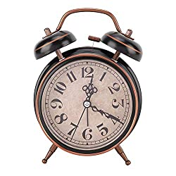 AUNMAS Alarm Clock Vintage Mechanical Light Night Luminous Manual Clock Double Twin Bell Clock for Bedrooms Time Management Heavy Sleepers(1#)