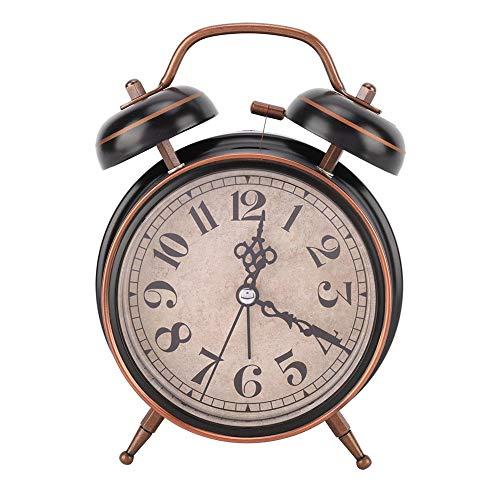 """idalinya Despertador MecáNico Retro De 4\""""con Luz Nocturna Reloj De Cuerda Manual Doble Campana Doble para El Dormitorio (BateríA No Incluida)(Negro)"""