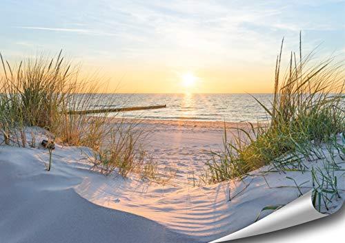 ARTBAY Meer Poster XXL - 118,8 x 84 cm | Sonnenaufgang am Strand | Dünen | Natur Poster | Premium Qualität