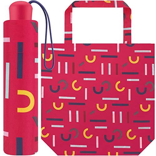 Esprit Taschenschirm Super Mini mit Shopper Bag - pink