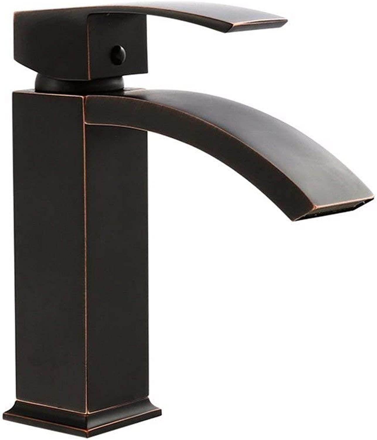 Oudan Basin Mixer Tap Bathroom Sink Faucet Retro-copper Brushed Black basin toilet and cold water faucets bathroom sinks single hole Single Handle faucet, high (color   High)