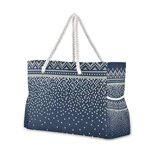 Montoj - Bolsa de playa con patrón de textura, diseño clásico