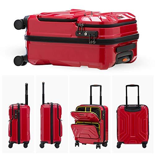 LUSHBERRYスーツケース機内持込トップオープンフロントオープン人気可愛いカッコイイキャリーケース静音TSAロック旅行出張超軽8輪小型SSサイズレッド35L