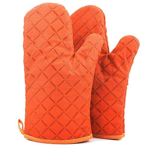 ATUIO - Guanti da Forno, Guanti da Cucina Resistenti al Calore & Spessi, Guanti da Forno Antiscivolo Professional, Guanti da Cucina per [Cucinare][Cuocere][BBQ], [1 Coppia], [Arancione]