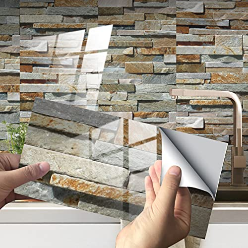 RAILONCH 12/24 unidades de adhesivos para pared posterior de cocina, azulejos de PVC, impermeables, para cocina, baño y más (estilo 18,24 unidades)