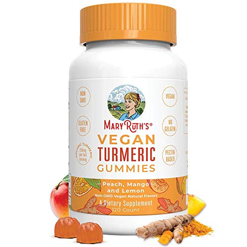 Vegan Turmeric Gummies by MaryRuth's - Organic Turmeric Curcumin Extract - Chewable - Non-GMO - Peach, Mango & Lemon - 250 mg per Serving - 120 Count