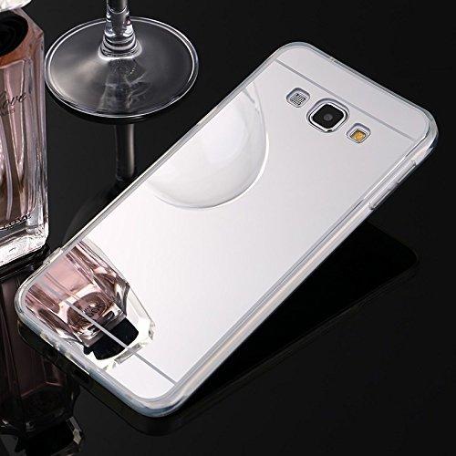 Sycode Coque Galaxy A5 2015,Galaxy A5 2015 Silicone Housse,Ultra Mince Doux Coque en Effet Miroir pour Samsung Galaxy A5 2015-Argent