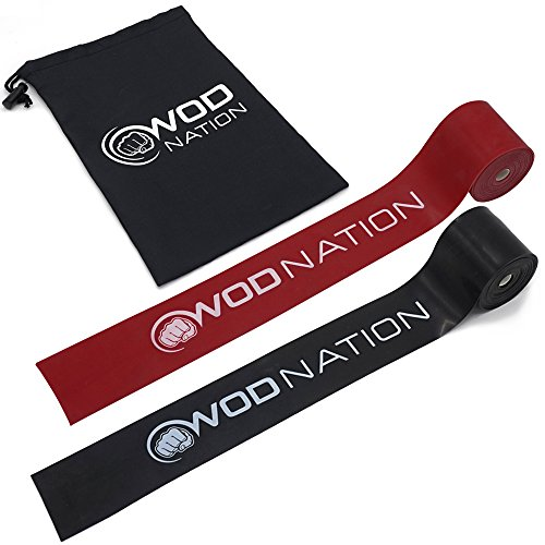 WOD Nation Muscle Floss Bands Recovery Band for Tack and Flossing Sore Muscles and Increasing Mobility : Stretch Band Includes Carrying Case (1 Black & 1 Red)