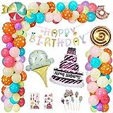 Hotelvs Decoración Fiesta Cumpleaños Globos, Candyland Caramelo Donut Helado Globo de Aluminio Cumpleanos Adornos Pancarta de Feliz Cumpleaños para Niñas Niños Mujeres