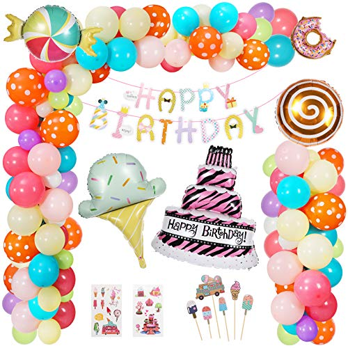 Hotelvs Birthday Party Decorations for Girls, Kids Candy Donut Ice Cream Cake Foil Balloon with Happy Birthday Banner for Candyland Lollipop Valentine's Party Decoration
