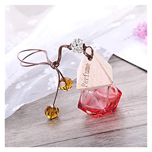 MNZDDDP Perfume Colgante del Coche Botella De Cristal Vacía For Aceites Esenciales Difusor De La Fragancia Olor del Ambientador De Aire Espejo Retrovisor Colgando Recorte (Color Name : Red)