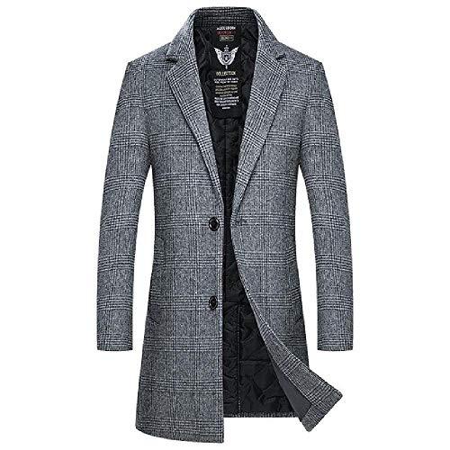 NOBRAND Nuevo Abrigo Hombres Otoño Invierno Casual Plaid Single Breasted Thick Mens Wool Coat
