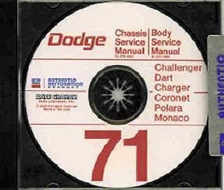 1971 DODGE REPAIR SHOP & SERVICE MANUAL & BODY MANUAL CD INCUDES: Challenger, Dart, Charger, Super Bee, Coronet, Polara, Monaco, convertibles, and wagons. 71
