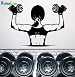 daasg Lovely Design Vinyl Wall Decal Gym Muscles Girl Beautiful Body Dumbbells...
