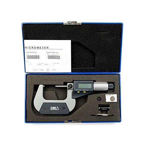 DML - Micrómetro digital IP54, 25 – 50 mm, medidor electrónico externo