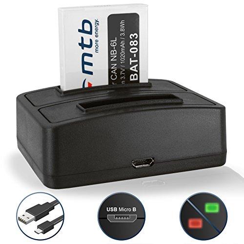 Batería + Cargador Doble (USB) NB-6L para Canon IXUS 85 IS, 95 IS / Powershot D10, D20,...