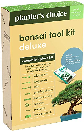"""Premium Bonsai Tool Kit + Bonsai 101 Book - Set Includes: Wooden Rake, Long & Wide Spades, Scissors, Tweezers, Bamboo… 10 Everything you need to care for your bonsai, in one stylish case: pruning shear and scissors to cut twigs, smaller branches, leaves or roots easily. Pair of tweezers to remove dead leaves, insects, weeds and other fine debris. Bamboo brush to enhance your bonsai tree, bamboo rake to plane or rake the surface of the soil when repotting, and 2 spades (long & wide). Includes best selling book """"bonsai: 101 essential tips"""" by bonsai expert Harry Tomlinson (DK Publishing), with 72 full color illustrated pages. Everything you need to know about bonsai care, maintenance, design, and arrangement. With clear explanations of bonsai and what it is, these 101 easy-to-grasp tips have everything you need to get the results you want. Premium quality: Everything is made with only the finest steel and bamboo, as you would expect from the Planters' Choice brand. And it comes neatly packaged in a stylish storage case so that it makes a great gift for your friend or family."""