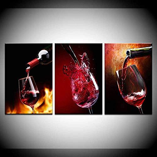 Cuadro de lienzo con diseño de vino tinto y cristal para pared, para bar, comedor, cocina, decoración de pared (19,6 x 27,5 pulgadas (50 x 70 cm) x3 sin marco
