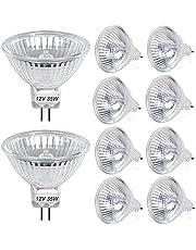 DoRight 10 Stuks MR16 Halogeenlamp 35W DC 12V Spotlight GU5.3 Halogeen Gloeilampen Dimbare Dichroische Lamp 2 Pin Base 550 Lumen 30 ° Stralingshoek Warm Wit 2800K Instant Volledige Helderheid