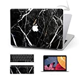 Timocy Hard Case Compatible with MacBook Pro 13 Inch – Marble Laptop Case with Keyboard Cover, Screen Protector, Touch Pads Sticker – Enhanced Protection – Gorgeous Designs , Black Marble