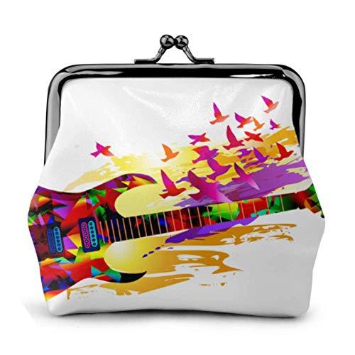 Monedero Música Colorida Pintura Guitarra eléctrica Hebilla Monedero de Cuero Monedero Carteras...