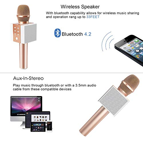 TOSING 008 Wireless Bluetooth Karaoke Microphone,Louder Volume, More Bass, 3-in-1 Portable Handheld Double Speaker Mic Machine for iPhone/Android/iPad/PC (M, Rose Gold-1)