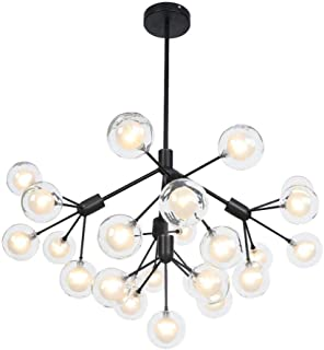 YXZQ Modern Firefly Chandelier, Creative Globe Ball Chandelier Vintage Farmhouse G4 9-Lights Branch Pendant Light for Stai...