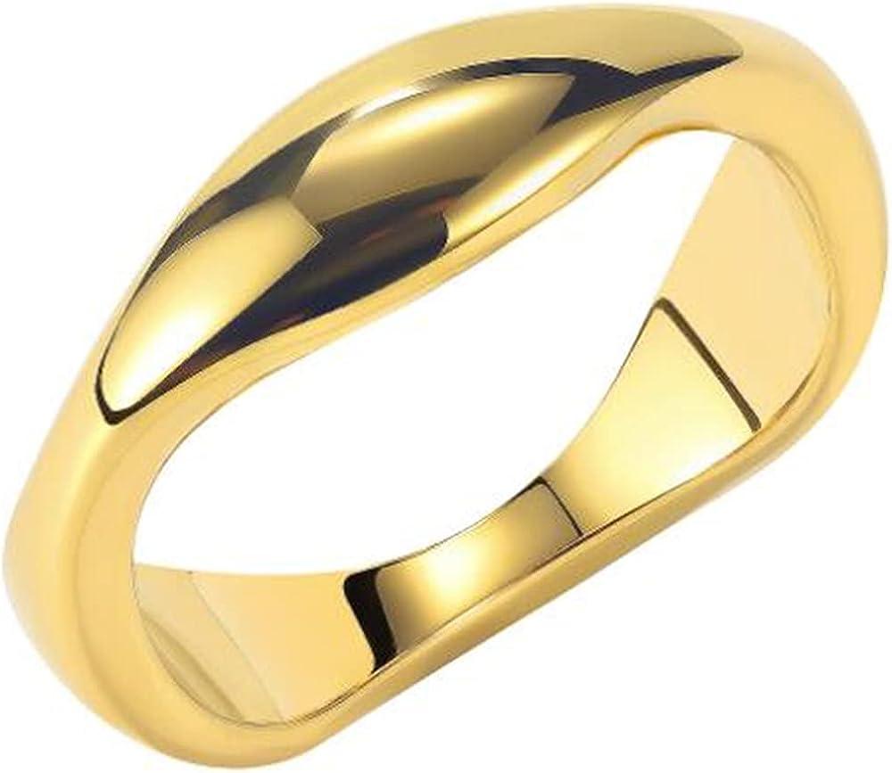 Stainless Steel Irregular Shape High Polished Classic Simple Plain Wedding Band Ring