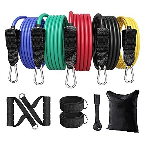 Ozvavzk Set di Fasce di Resistenza,11PCS Bande di Resistenza con 5 Bande Elastiche Fitness in Lattice e Maniglia Cinturino alla Caviglia e Gancio da Porta,per Attrezzi da Fitness Yoga Pilates