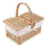 HEMOTON Cesta de picnic de mimbre con forro y tapa, cesta rústica, cesta de comida de campo, cesta de comida para acampar y barbacoas