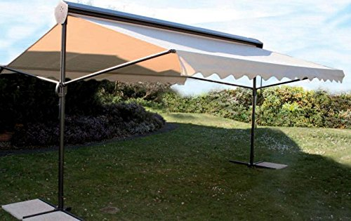 Parasol - Ombre et Lumière Acier Rectangle 3x4.5m Polyester 300 g/m2 Ecru Avec lambrequin vague