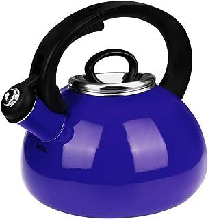 Whistling Tea Kettles, AIDEA 2.3 Quart Ceramic Tea Kettle for Stovetop, Enameled Interior Tea Pot for Anti-Rust, Audible W...