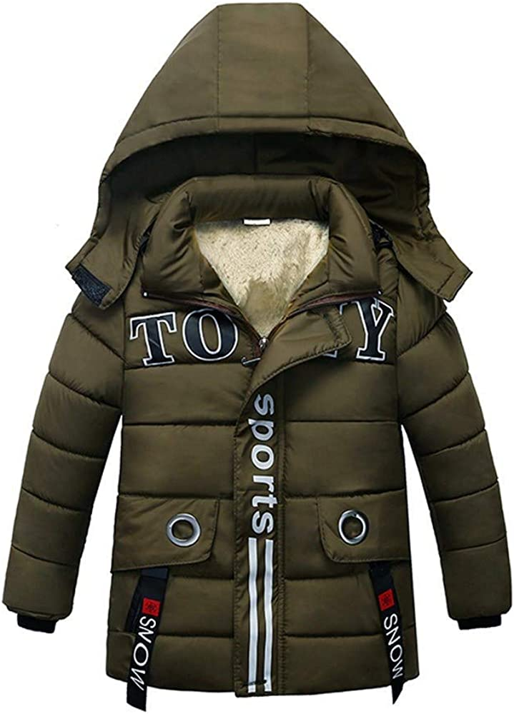 WOCACHI Boys Parka Jacket Sale, Fashion Kids Coat Boys Girls Thick Coat Padded Winter Jacket Clothes Newborn Mom Daughter Son Coverall Layette Sets Best Gift Multi Adorable Outfits