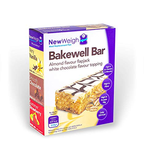 NewWeigh Bakewell Meal Replacement Snack Bar, 7 x 60g - Suitable for Vegetarians - High Fibre & High Protein